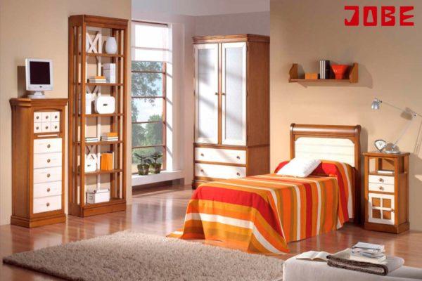 Dormitorio madera color cerezo y blanco muebles jobe for Muebles jobe