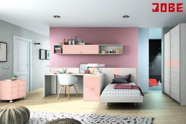 Juvenil completo en chapa sintética, melamina, formado por cama individual, escritorio y arcón con escritorio de refuerzo extraible