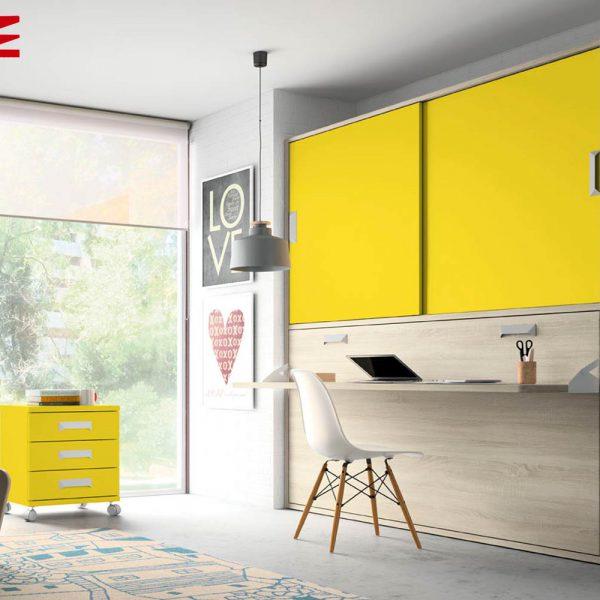 Cama abatible horizontal con escritorio muebles jobe for Muebles jobe
