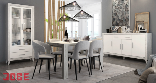 Comedor completo moderno muebles jobe for Decorar vitrina de comedor